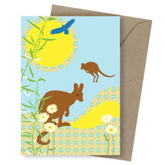 Bush dweller greeting card Kangaroo