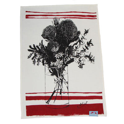 red bush flower tea towel