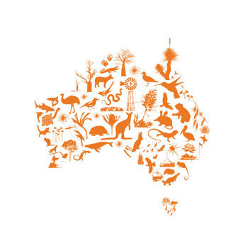 Art print map of australia