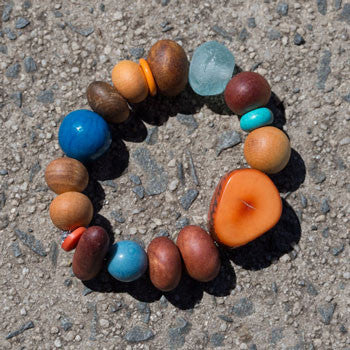 Orange and blue eco beads bracelet