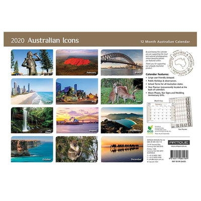 2020 Australian Icons Souvenir Calendar Gifts to Send Overseas