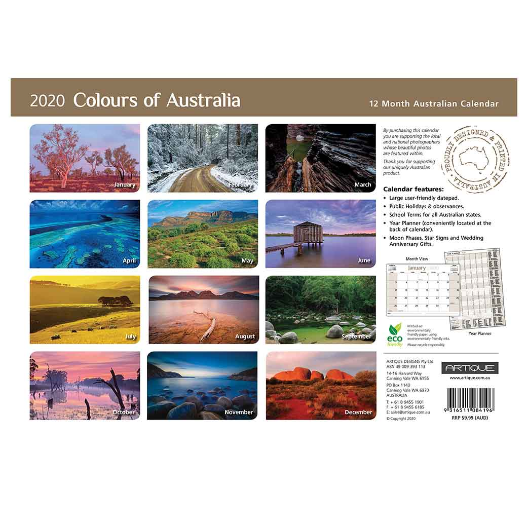2020 Australian Calendars for Sending Overseas - Printed in Australia