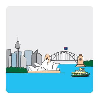 Australian Made Gifts & Souvenirs with the Sydney Set of 4 Plastic Coasters -by Bits of Australia. For the best Australian online shopping for a Coasters