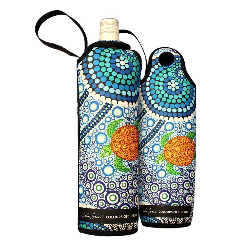 Indigenous Australian Souvenir Wine Holders - Colours of the Reef Colin Jones
