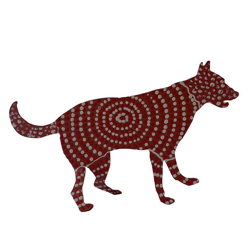 Aboriginal Art Metal Dog - Rudolf