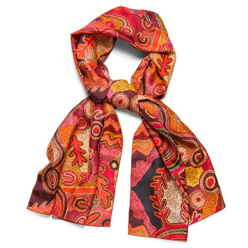 Australian Wedding Gifts For Overseas: Australian Aboriginal Silk Scarf With Artwork By Theo
