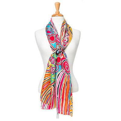 Australian Made Gifts & Souvenirs with the Judy Watson Silk Scarf -by Alperstein Designs. For the best Australian online shopping for a Scarves - 3