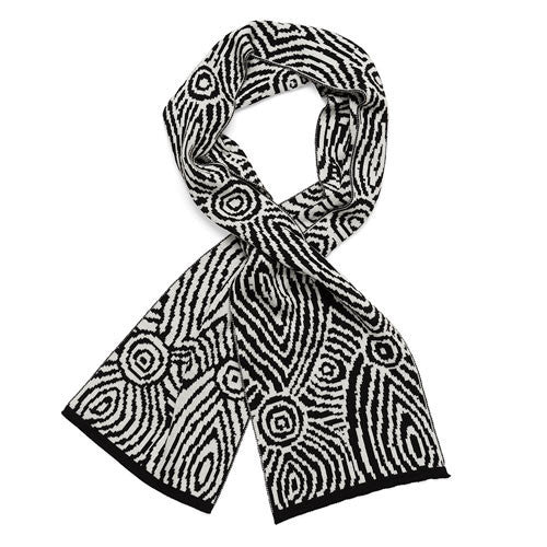 Australian Made Gifts & Souvenirs with the Black & White Aboriginal Art Woollen Scarf -by Alperstein Designs. For the best Australian online shopping for a Scarves - 1