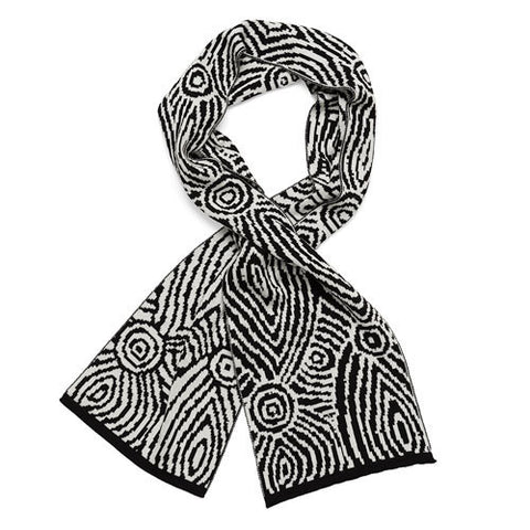 Black & White Aboriginal Art Woollen Scarf