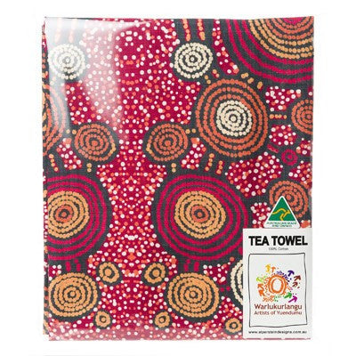 Australian Made Gifts & Souvenirs with the Teddy Gibson Aboriginal Tea Towel -by Alperstein Designs. For the best Australian online shopping for a Tea Towels - 2