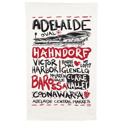 Australian Made Gifts & Souvenirs with the Adelaide Cotton Tea Towel -by Alperstein Designs. For the best Australian online shopping for a Tea Towels