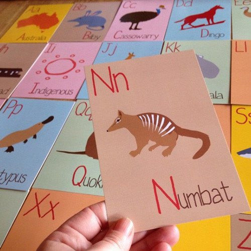 Australian Made Gifts & Souvenirs with the 26 Alphabet Flash Cards -by Mokoh Design. For the best Australian online shopping for a Babies - 1