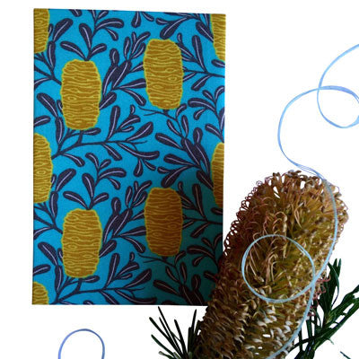 Australian Made Gifts & Souvenirs with the Aqua Banksia Handkerchief -by Hanky Fever. For the best Australian online shopping for a Handkerchief