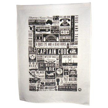 Australian Made Gifts & Souvenirs with the Aussie Rhyming Slang Tea Towel -by Kirsten Haworth Textiles. For the best Australian online shopping for a Souvenirs