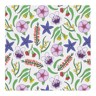 Australian Made Gifts & Souvenirs with the Australian Wildflowers Plastic Set of 4 Coasters -by Bits of Australia. For the best Australian online shopping for a Coasters - 1