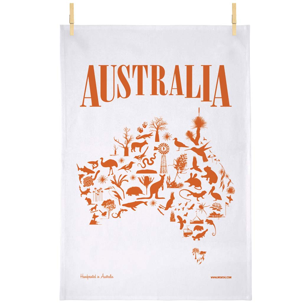 Souvenir Tea Towels Australia Cotton Linen Mix Aussie Map & Icons by Mokoh Design Fremantle