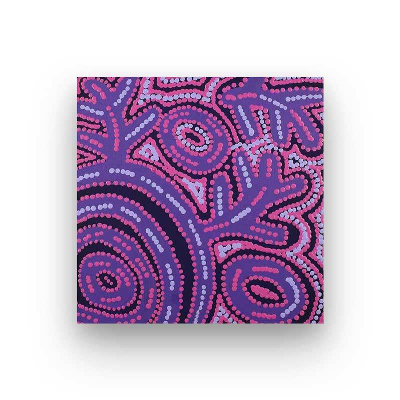 Original Purple Australian Aboriginal Artwork Canvas by Vanetta Nampijinpa Hudson
