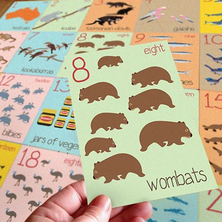 Australian Made Gifts & Souvenirs with the Numbers Flashcards -by Mokoh Design. For the best Australian online shopping for a Kids