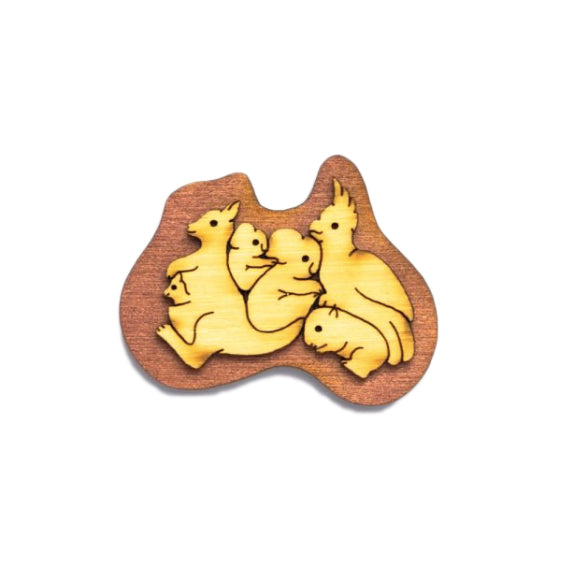 Australian animals souvenir brooch made in Australia