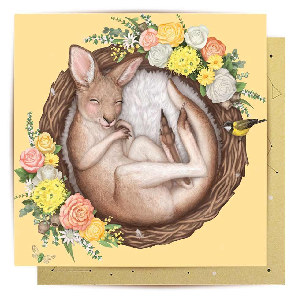 Australian baby gifts - nested baby roo greeting card