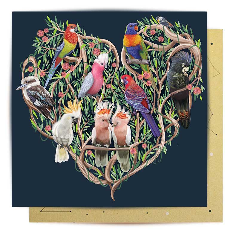 Australiana Heart Greeting Card for Sending Overseas