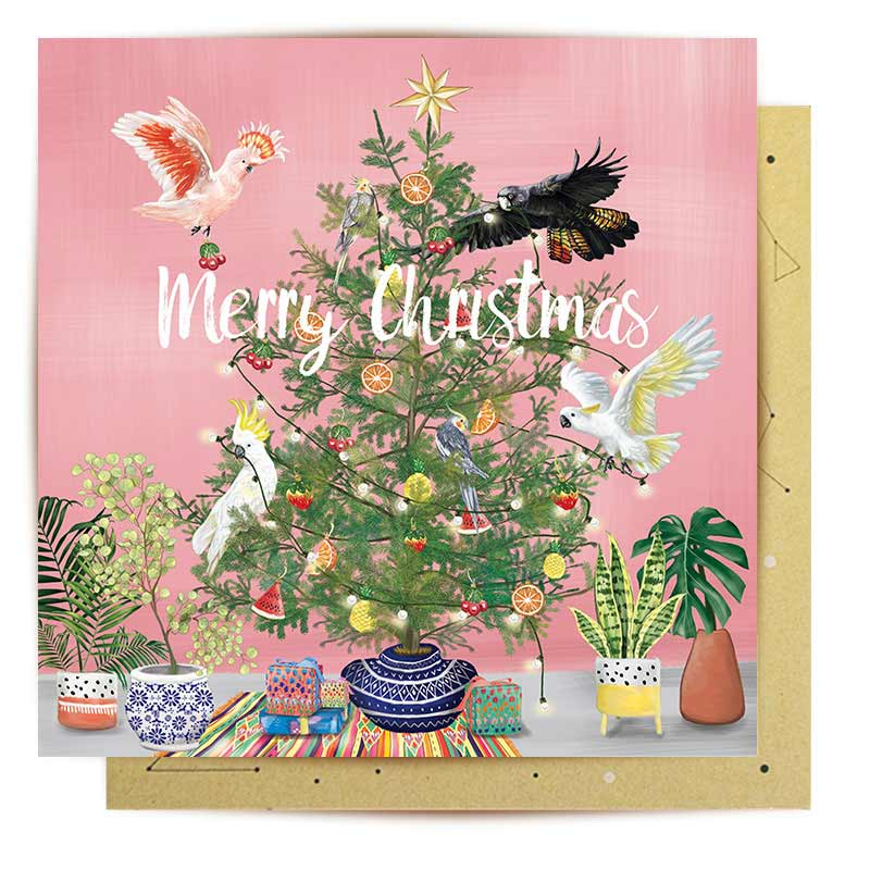 Aussie Christmas Card with Pink Galah, Cockatoo & Black Cockatoo