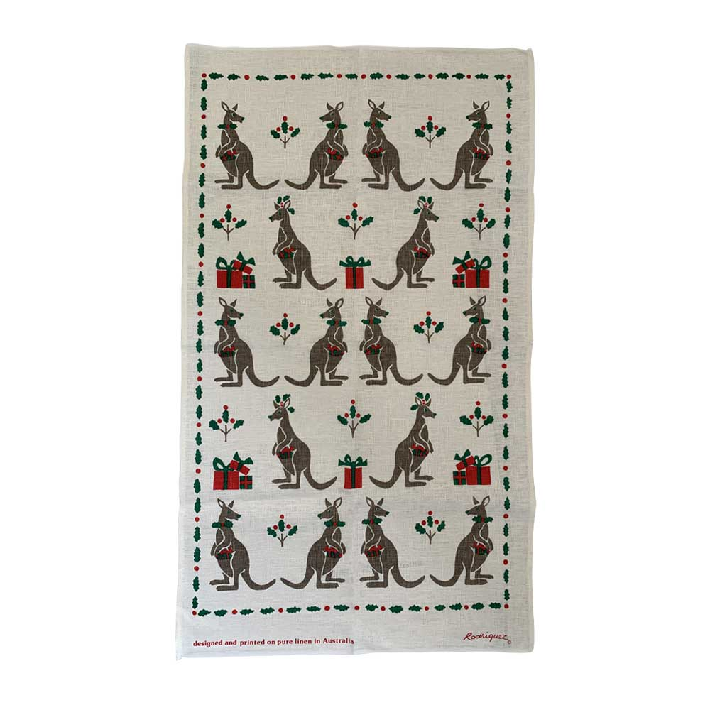 Australian Themed Christmas Kangaroo Tea Towel - Australian Made