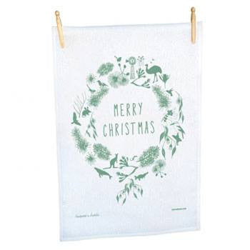 Australian Made Gifts & Souvenirs with the Christmas Wreath Tea Towel -by Mokoh Design. For the best Australian online shopping for a Accessories