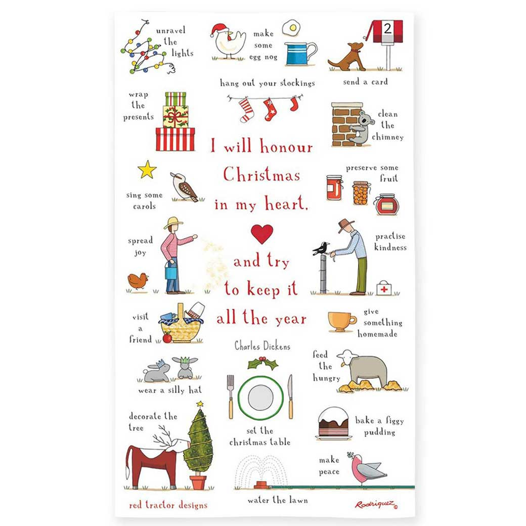 Australian Christmas In Heart Red Tractor Linen Tea Towel