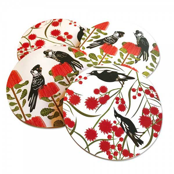 Australian Coaster Set Magpie & Black Cockatoos by Mokoh Design