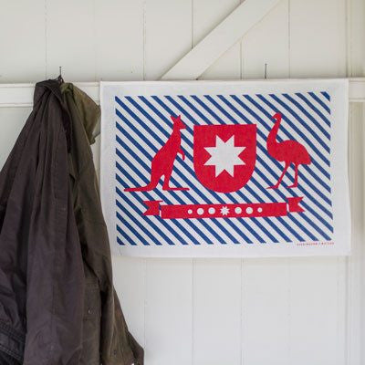 Australian Made Gifts & Souvenirs with the Australian Crest Tea Towel -by Everingham & Watson. For the best Australian online shopping for a Tea Towels - 1