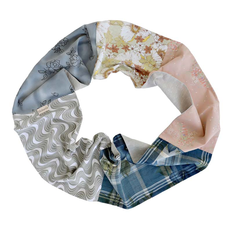 Australian Fashion Gifts Sustainable Patchwork Infinity Scarf French Blue