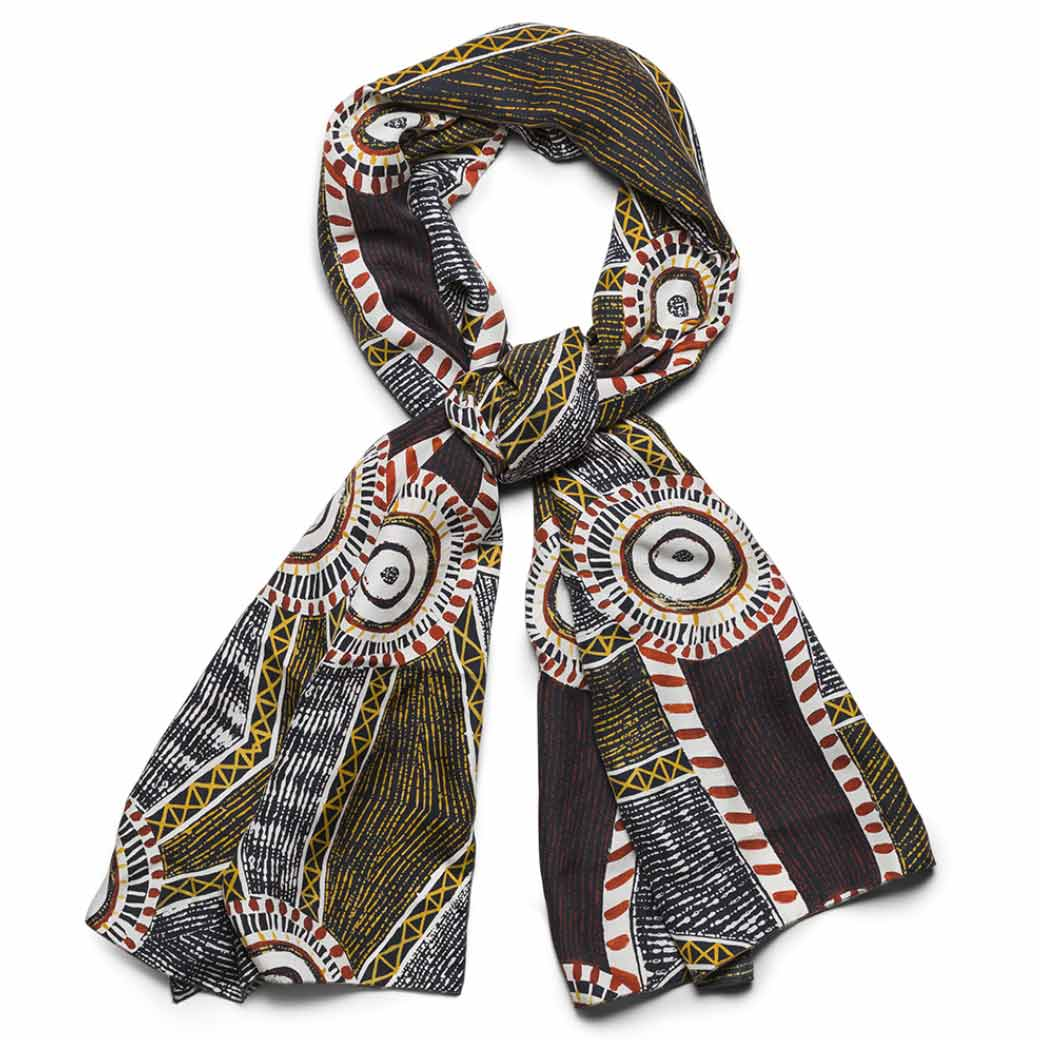 Ethical fashion Australia - silk scarf with Tiwi Island Aboriginal designs Michelle Woody Made in Australia
