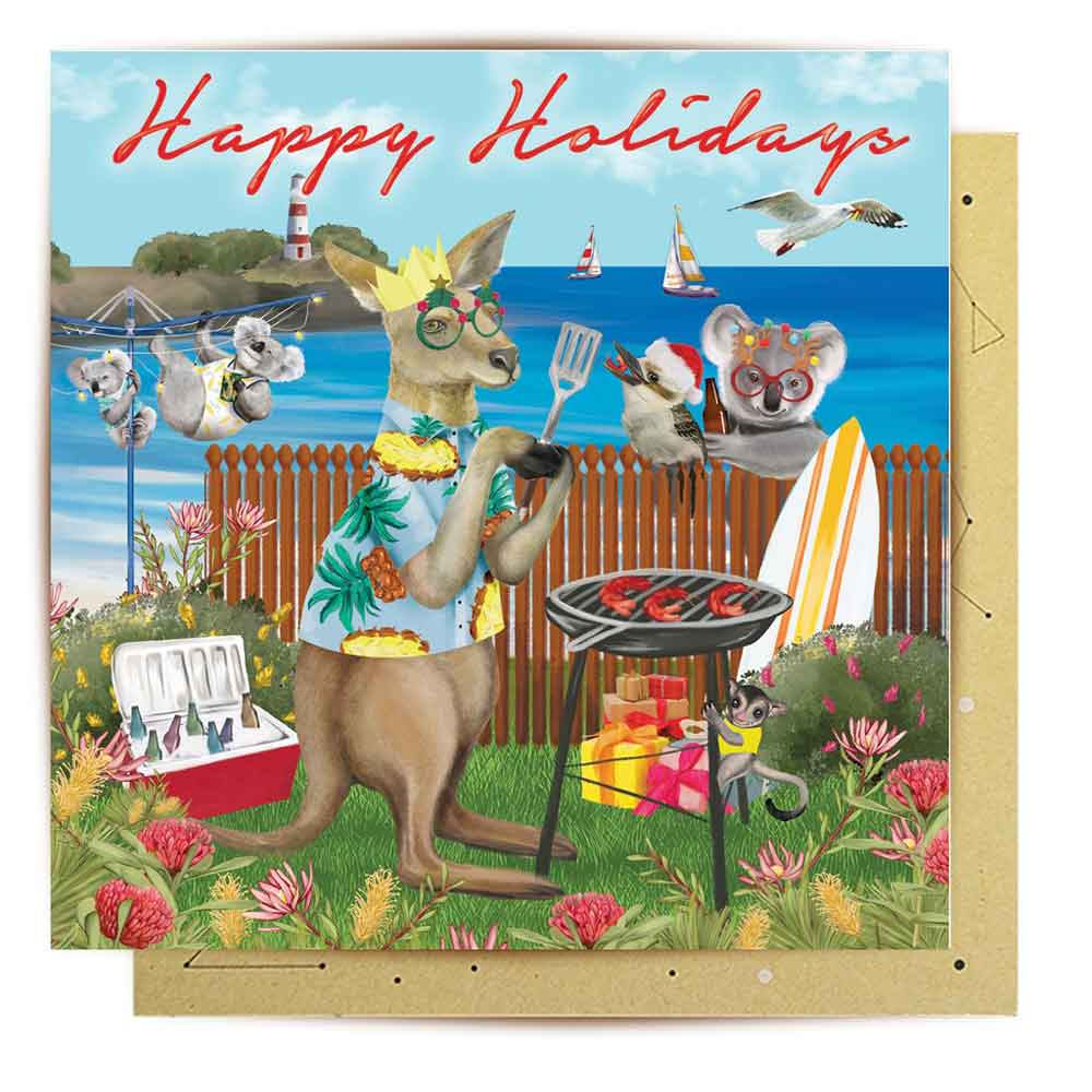 Australian Festive Holidays Illustrated Greeting Card La La Land