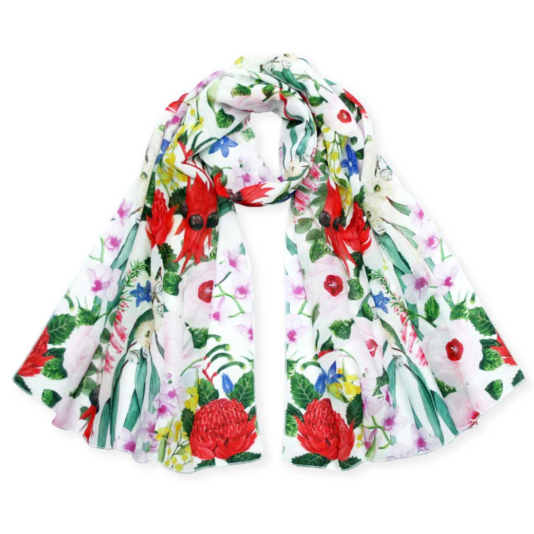 Australian floral wildflower scarf for unique gifts for women