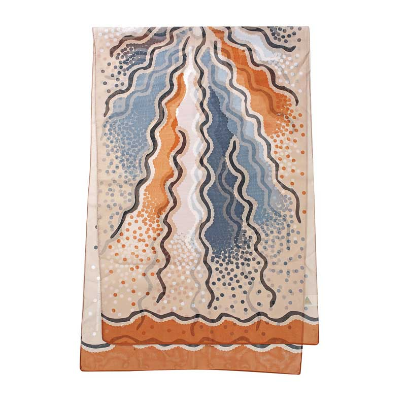 Lightweight Australian Souvenir Scarf - Bush Roots Design