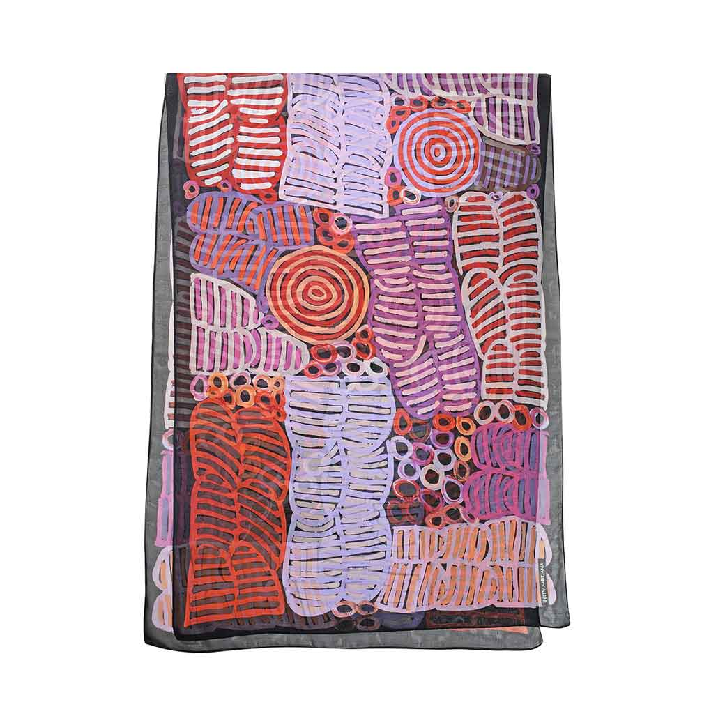 Australian Silk Scarves - Purples Made in Australia Silk Chiffon Aboriginal Design