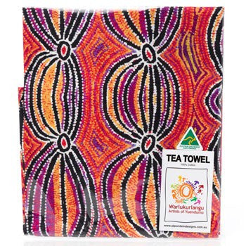 Australian Made Gifts & Souvenirs with the Liddy Walker Aboriginal Tea Towel -by Alperstein Designs. For the best Australian online shopping for a Tea Towels - 2