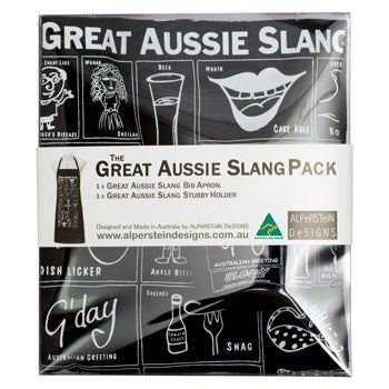Australian Made Gifts & Souvenirs with the Aussie Slang Apron & Stubby Holder Set -by Alperstein Designs. For the best Australian online shopping for a Tea Towels - 1