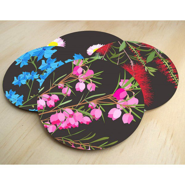 Australian Made Gifts & Souvenirs with the Midnight Bloom Coasters -by Mokoh Design. For the best Australian online shopping for a Accessories