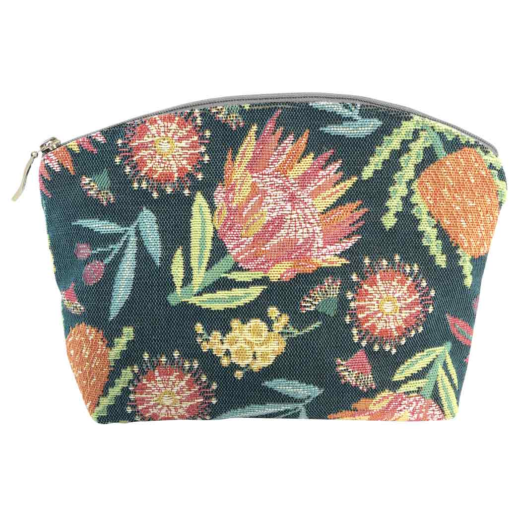 Australian Gifts for Women, luxury tapestry cosmetic bag with Australian floral design