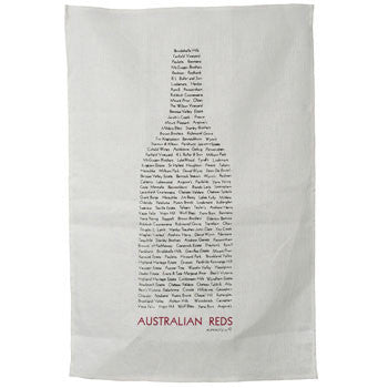 Australian Red Wines Cotton Tea Towel