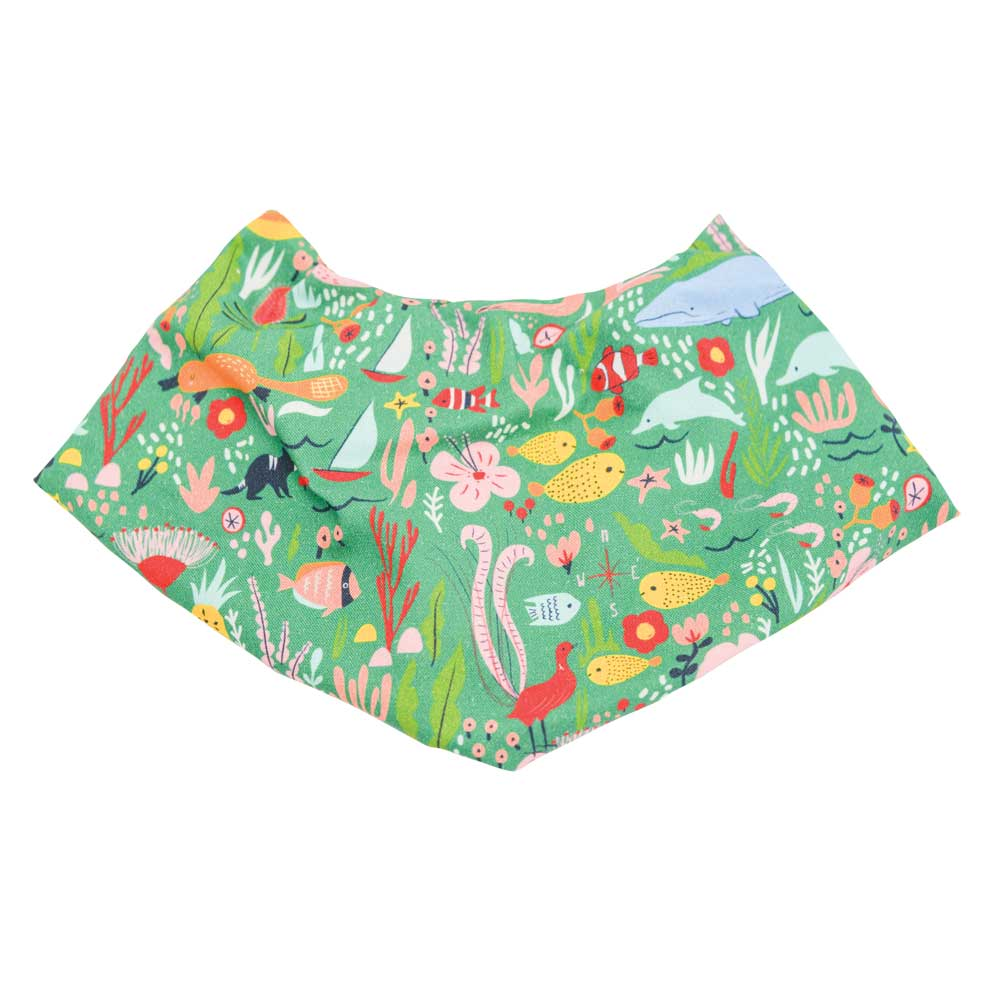 Australian Gifts for Babies Aussie Down Under Bandana Bib Green