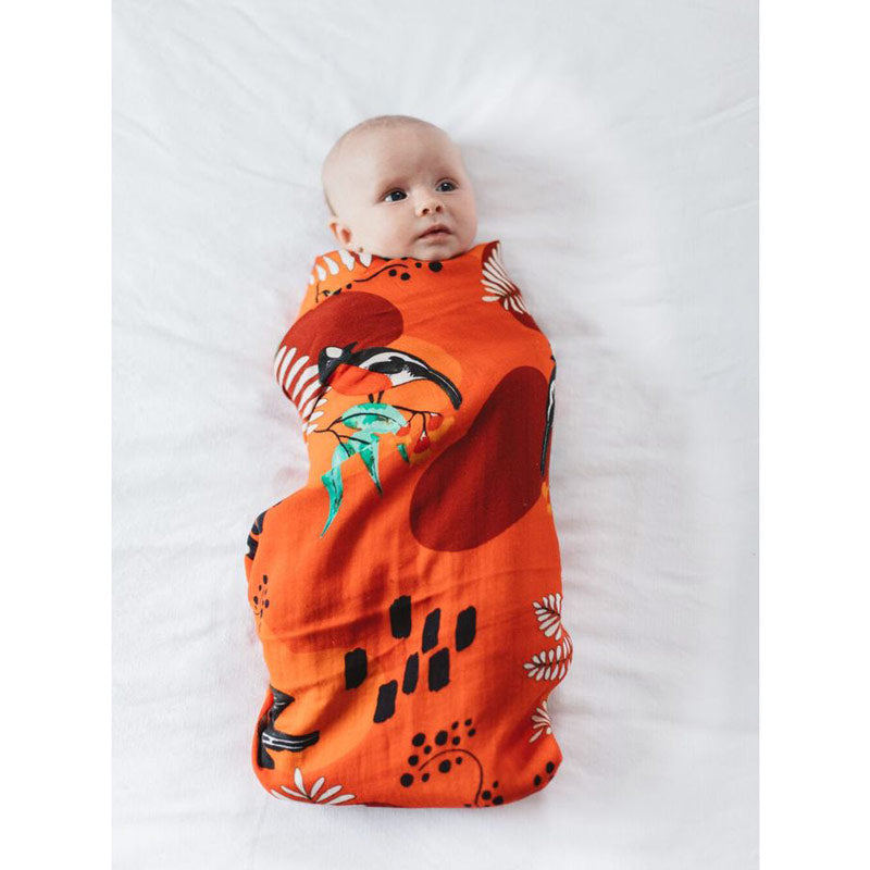 Australian Gifts for Babies Scarlet Robin Babies Swaddle The Spotted Quoll Studio