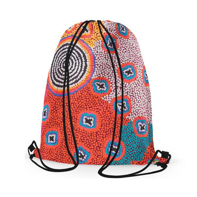 Australian Gifts for Girls Drawstring Backpack Ruth Stewart Aboriginal Art