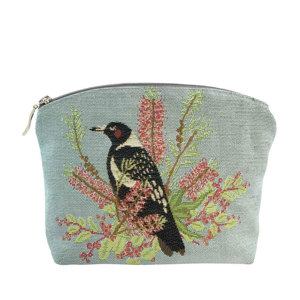 Australian Gifts for Women, Magpie Tapestry Cosmetic Bag Handmade in Australia