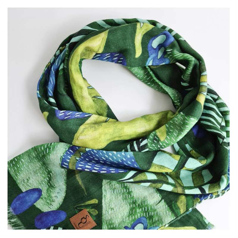 Australian Gifts for Women Organic Cotton Green Scarf