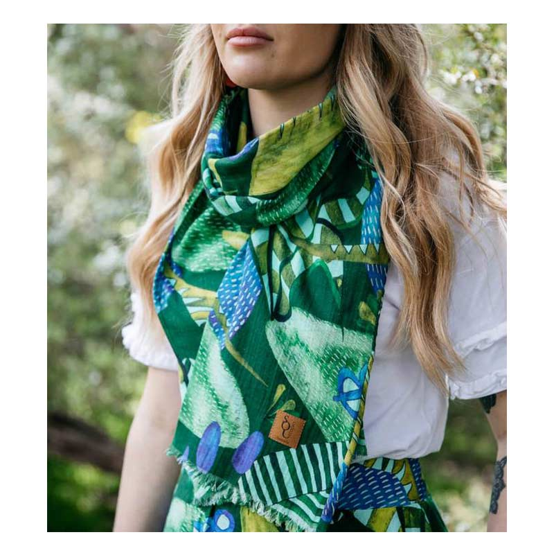 Australian Gifts for Women Organic Cotton Lost Thylacine Scarf