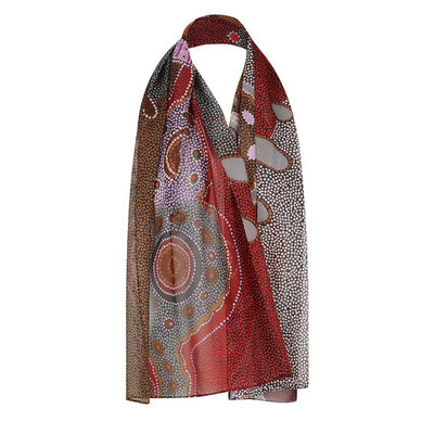 Pink & Red Womens Australian Made Chiffon Scarf