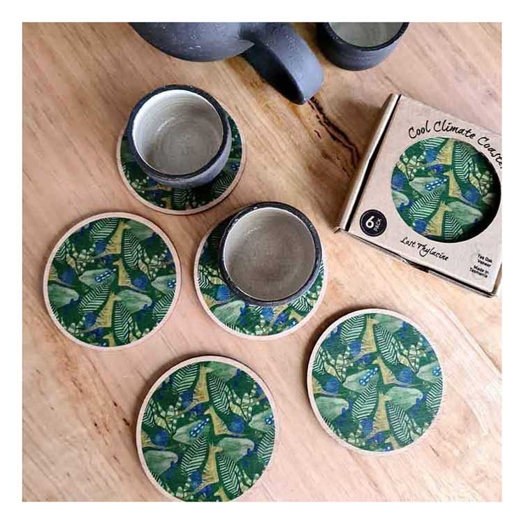 Australian Homewares Tasmanian Oak Lost Thylacine Coasters The Spotted Quoll Studio